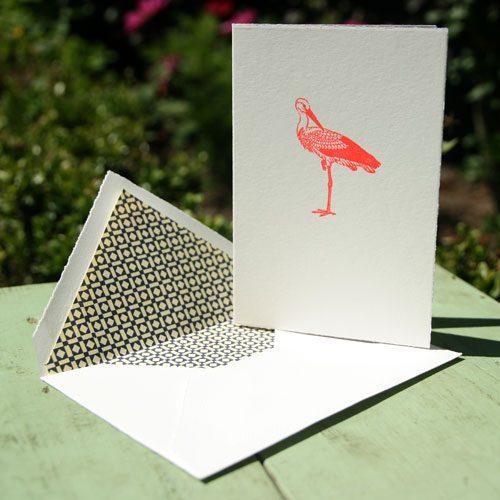 Geschept kaartje met origami ooievaar