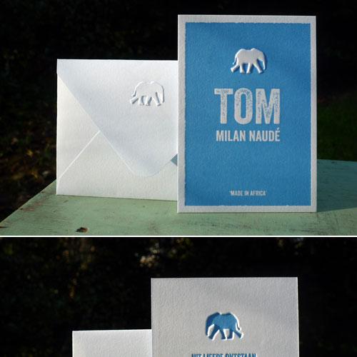 geboortekaartje Tom blauw met olifant