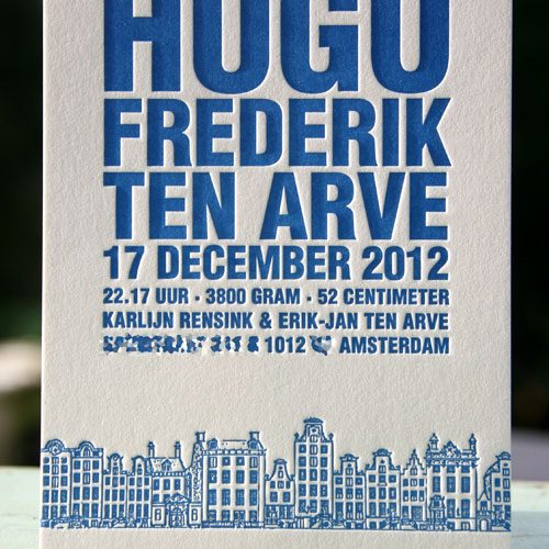 Letterpers diepdruk grachtengordel Amsterdam geboortekaart