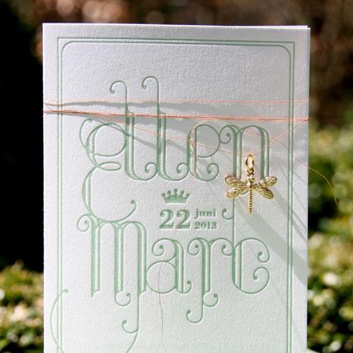 gevouwen letterpress trouwkaart