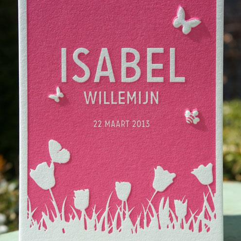 600 grams kaart Letterpers voor en achterkant bedrukt met roze en een preeg