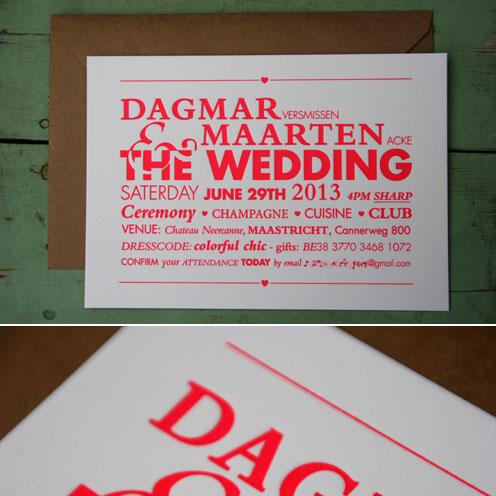letterpers_letterpress_Dagmar_Maarten_trouwkaart_wedding_fluor_kraft_envelop_roze_rood_hart_ue