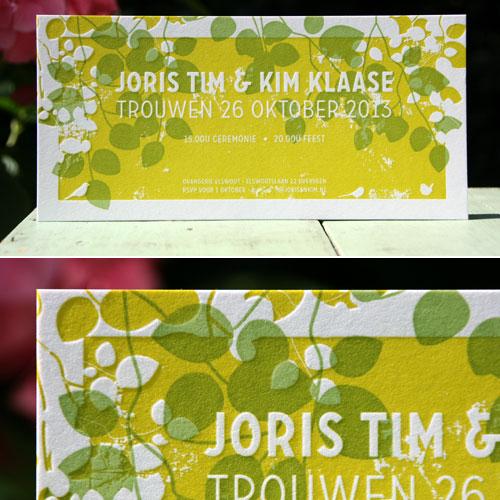 letterpers_letterpress_trouwkaart_Joris-en-Kim_oker-geel_bloemen_mooi_bijzonder_ue