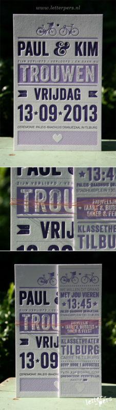 letterpers_letterpress_trouwkaart_Paul-en-Kim_Fiets_stoer_paars_koperdraad