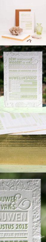 letterpers_letterpress_trouwkaart_wedding_Dewi_Wiggert_bloemen_groen_goud_zijkant_speciale_mooiste