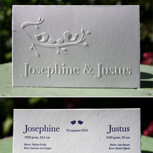 letterpers_letterpress_geboortekaartje_Josephine-en-Justus_vogeltjes_tweeling_preeg_ue