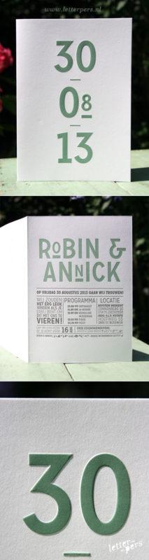 letterpers_letterpress_trouwkaart_Robin-en-Annick_stoer_groen_preeg