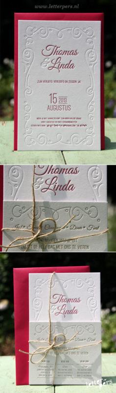 Trouwkaarten Letterpers 2 kleuren diepdruk
