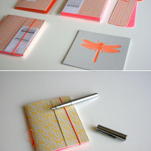 Handgemaakte notitieboekjes letterpers
