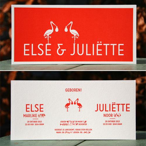 letterpers_letterpress_geboortekaartje_Else-en-Juliette_rood_ooievaar_tweeling_lief_ue