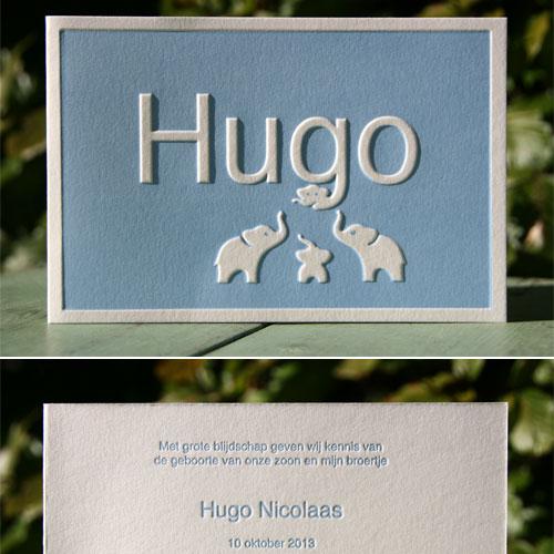letterpers_letterpress_geboortekaartje_Hugo_blauw_olifantjes_preeg_lief_ue