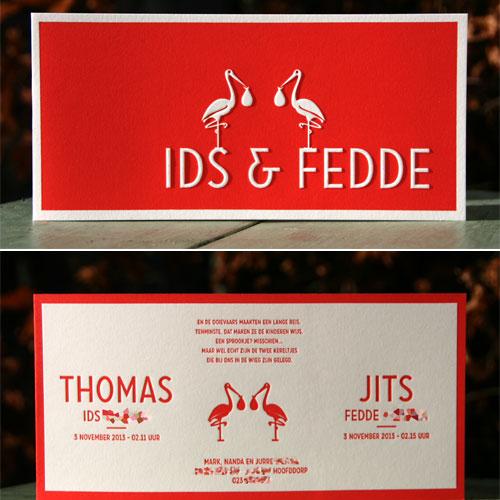 tweeling kaartje met ooievaar letterpers