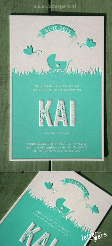 letterpers_letterpress_geboortekaartje_kai_mint_groen_vlinders_lief_preeg