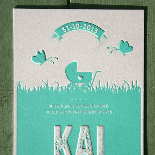letterpers_letterpress_geboortekaartje_kai_mint_groen_vlinders_lief_preeg_ue