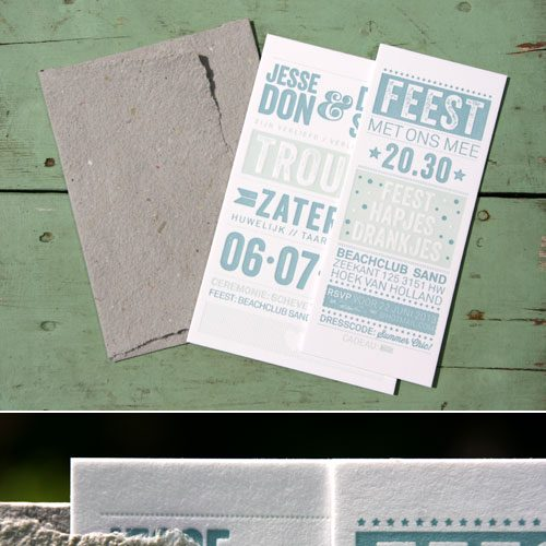 letterpers_letterpress_trouwkaart_Jesse-en-Dagmar_licht-groen_zomers_typografisch_strand_preeg_ue