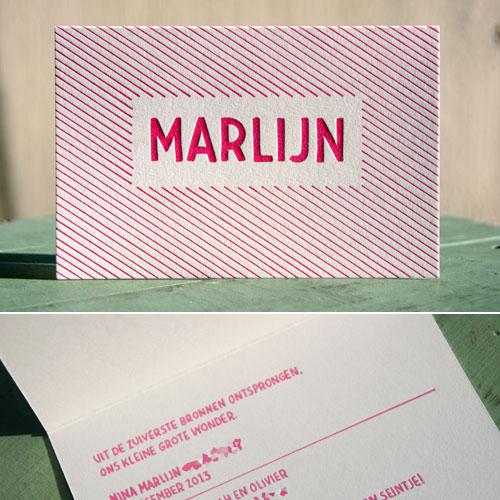 Letterpers handgetekend fluor roze