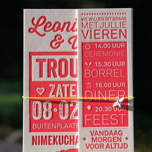 letterpers_letterpress_trouwkaart_-Leonieke-en-Willem_Rood_roze_fluor_neon_olifanten_ue