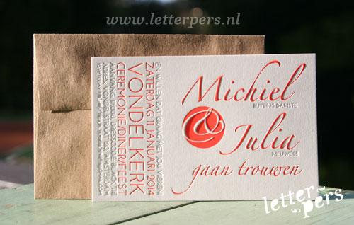 letterpers_letterpress_trouwkaart_-Michel-en-Julia_rood_blinddruk_preeg_klassiek