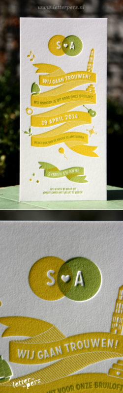 letterpers_letterpress_trouwkaart_Anne_Sybren_wimpel_banner_geel_groen_lente_zomers_iconen_relief