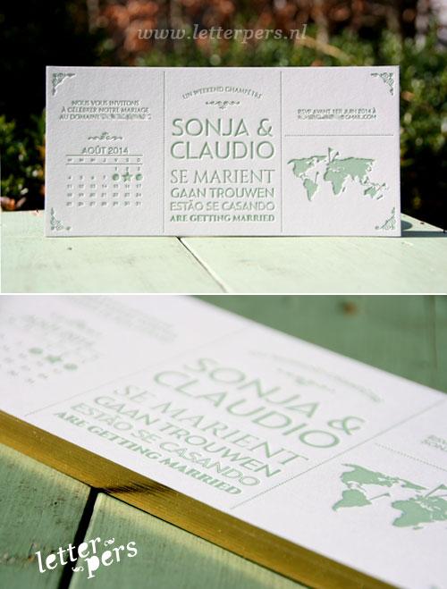 letterpers_letterpress_trouwkaart_Sonja_Claudio_jugendstill_artdeco_kalender_goud_zijkant_folie_oudgroen