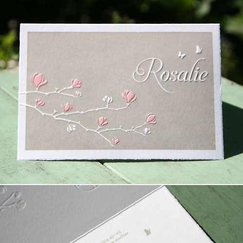 letterpers_letterpress_geboortekaartje_Rosalie_Magnolia_tak_taupe_roze_oud_hollands_relief_ue