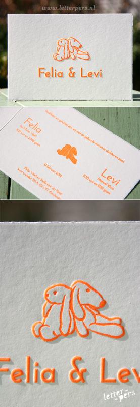 letterpers_letterpress_Levi-geboortekaartje_tweeling_konijntjes_oranje_preeg_scheprandje