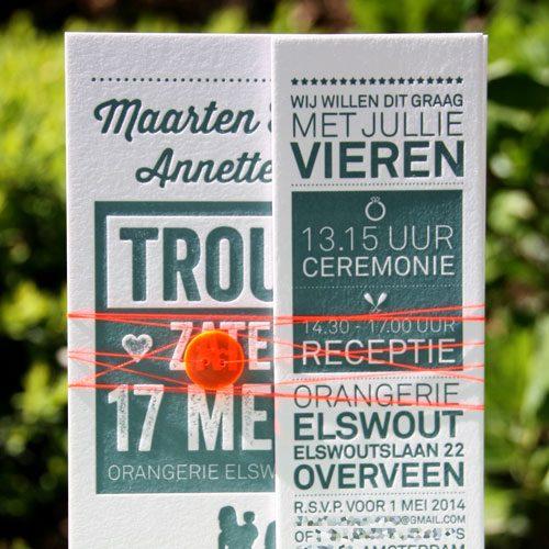 letterpers_letterpress_trouwkaart_Maarten_Annette_stoer_donker_blauw_gezin_familie_knoop_fluortouw_gebonden_speciale_enveloppen_fluor_oranje_ue