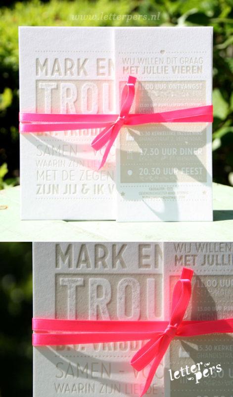 letterpers_letterpress_trouwkaart_Mark_Esther_taupe_fluor_roze_gebonden_stoer_typografisch
