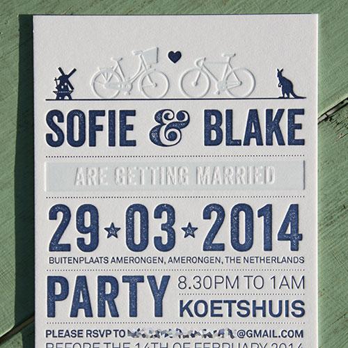 letterpers_letterpress_Trouwkaart_Sofie_en_Blake_blauw_fietsen_typografisch_ue