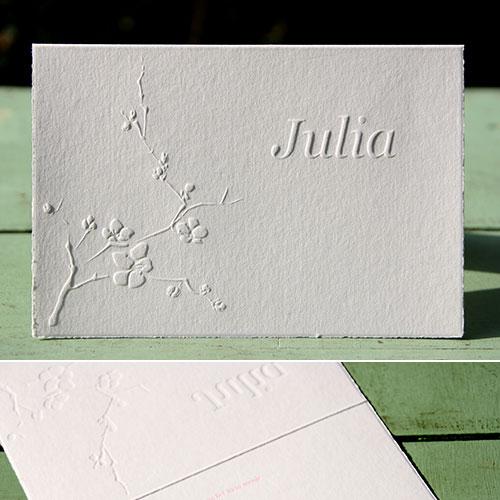 Geboortekaartje Julia gedrukt op geschept papier