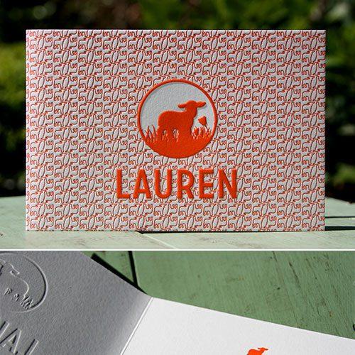 letterpers_letterpress_geboortekaartje_lauren_lammetjes_print_fluor_oranje_preeg_ue