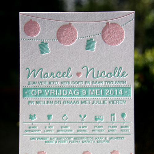 letterpers_letterpress_trouwkaart_marcel_nicolle_mint_roze_lampions_ringendoosje_romantisch_ue