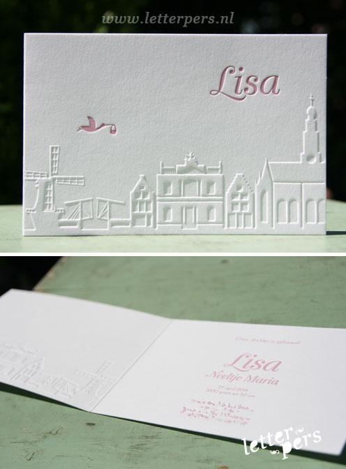 Geboortekaartje met skyline in het roze met veel reliëf - Letterpers - Letterpress