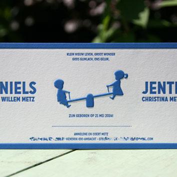 letterpers_letterpress_geboortekaartje_Niels_Jente_tweeling_blauw_wipwap_jongetje_meisje_relief_preeg_ue