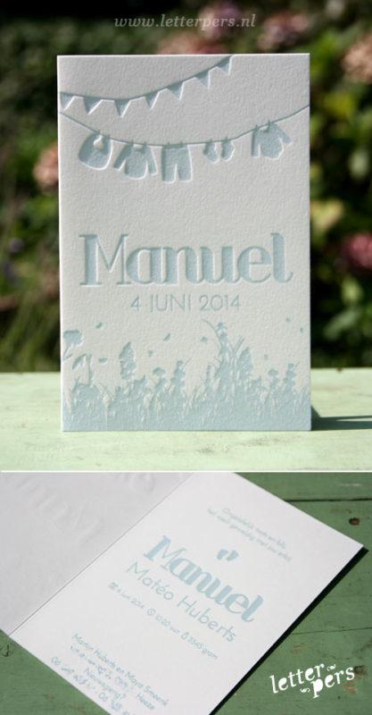 letterpers_letterpress_geboortekaartje_Manuel_waslijn_kleertje_relief_lief_gras_schattig