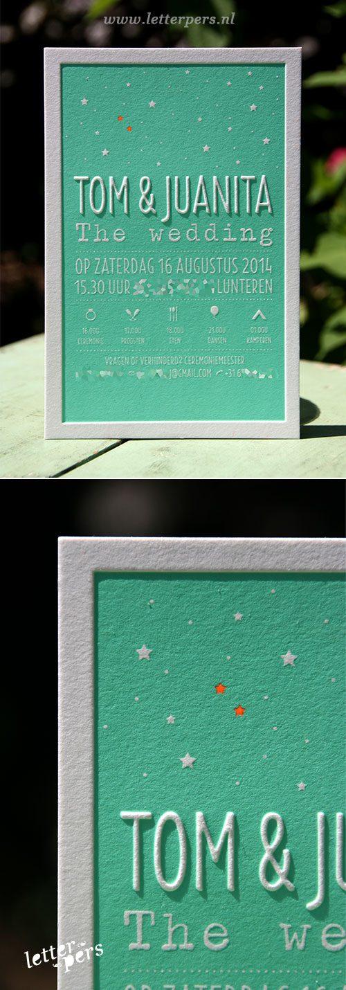 letterpers_letterpress_trouwkaart_tom_juanita_mintgroen_oranje_preeg_sterren_stoer