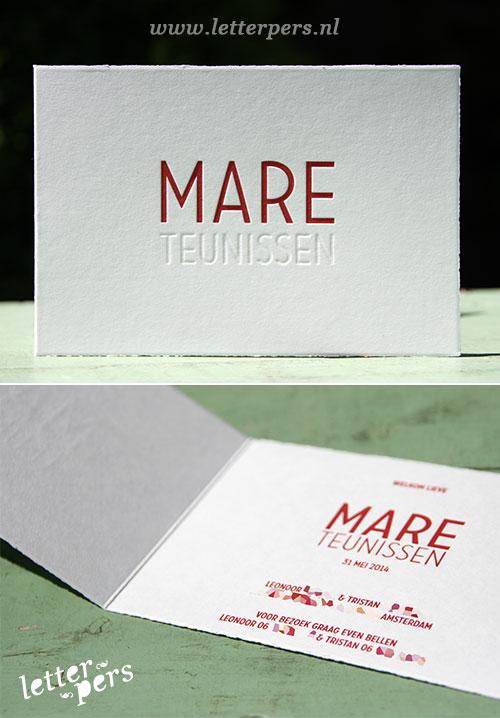 letterpers_letterpress_geboortekaartje_mare_blinddruk_rood_strak_scheprand