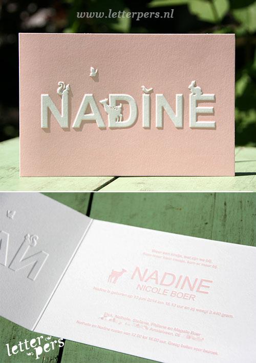 letterpers_letterpress_geboortekaartje_nadine_preeg_roze_illustratie_lief