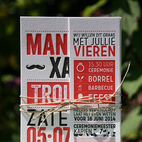letterpers_letterpress_trouwkaart_manon_xavier_rood_zwart_snor_hip_ue