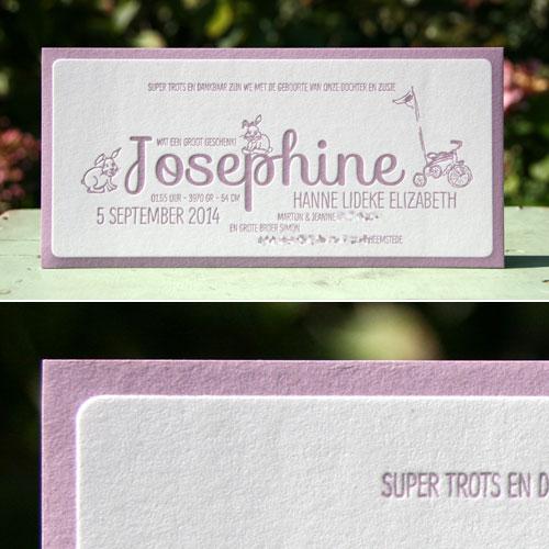 geboortekaartje josephine lavendel paars