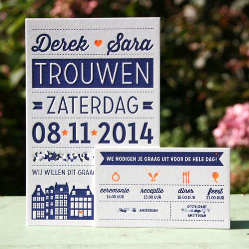 letterpers_letterpress_trouwkaart_Derek_Sara_trouwen_Amsterdam_grachtenpand_los_kaartje_fluor_oranje_donker_blauw_ue