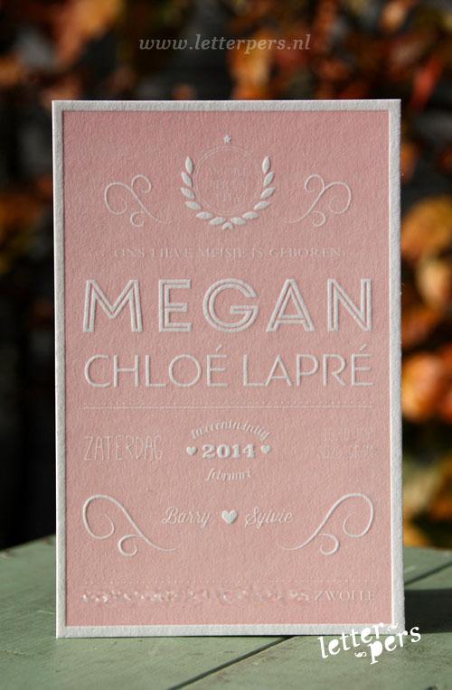 letterpers_letterpress_geboortekaartje_Megan_roze_stoer_amerikaans_typografie_lief
