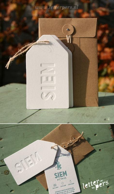 letterpers_letterpress_geboortekaartje_Siem_label_stoer_jute_touw_japanse_envelop_jongen_meisje_blauw_tag