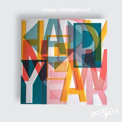 Grafische design kerstkaart Letterpers