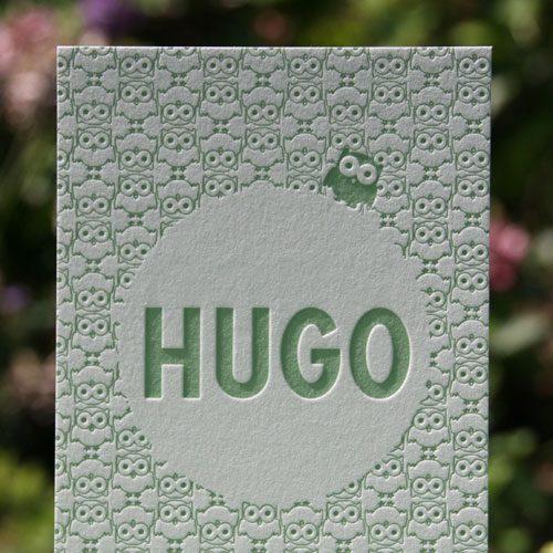 letterpers_letterpress_geboortekaartje_Hugo_uiltje_uil_patroon_grijs_karton_oud_groen_oranje_ue
