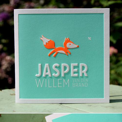 letterpers_letterpress_geboortekaartje_Jasper_vos_fluor_neon_oranje_mint_groen_relief_preeg_ue