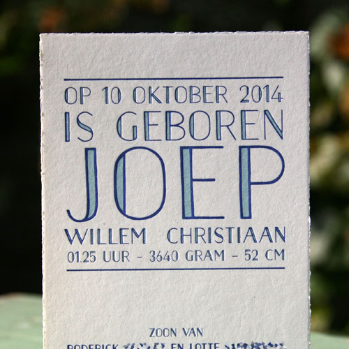 letterpers_letterpress_geboortekaartje_Joep_typografie_jaren20_jaren30_stoer_blauw_jongetje_ue