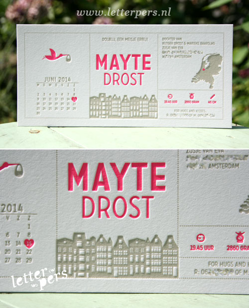 letterpers_letterpress_geboortekaartje_Mayte_amsterdam_huisjes_kaart_kalender_fluor_roze_taupe_neon