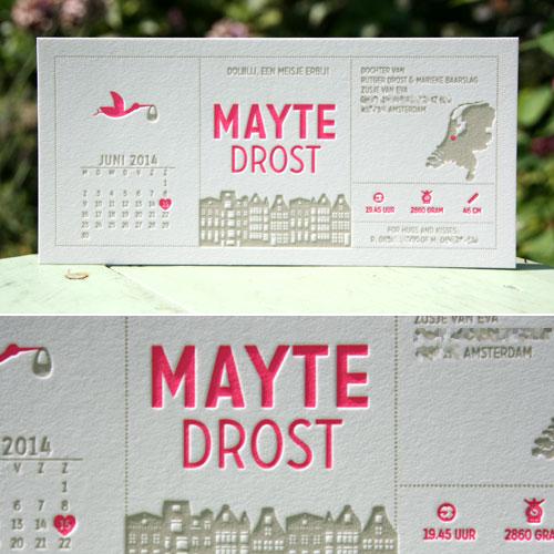 letterpers_letterpress_geboortekaartje_Mayte_amsterdam_huisjes_kaart_kalender_fluor_roze_taupe_neon_ue