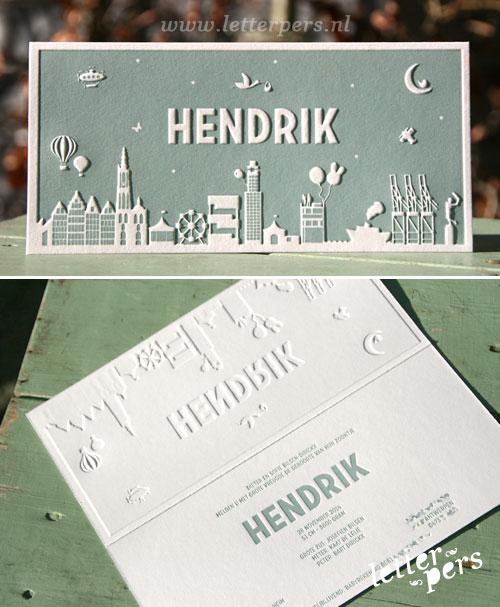 letterpers_letterpress_geboortekaartje_Hendrik_Antwerpen_skyline_silhouette_stoer_relief_preeg